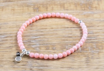 Apricot Koralle Armband mit Silber Charm (4mm Perlen)