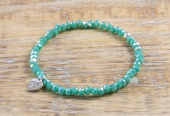 Pure Sparkle Bright Green mit Silber Charm Armband