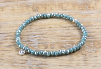 Pure Sparkle Jade Green mit Silber Charm Armband