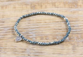 Pure Sparkle Petrol mit Silber Charm Armband (2mm Perlen)