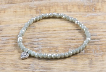 Pure Sparkle Stone Green mit Silber Charm Armband