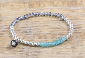 Silver Sparkle - Riviera Blue & Apatit Armband