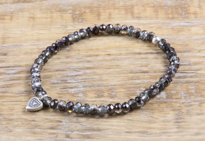 Pure Sparkle Black mit Silber Charm Armband