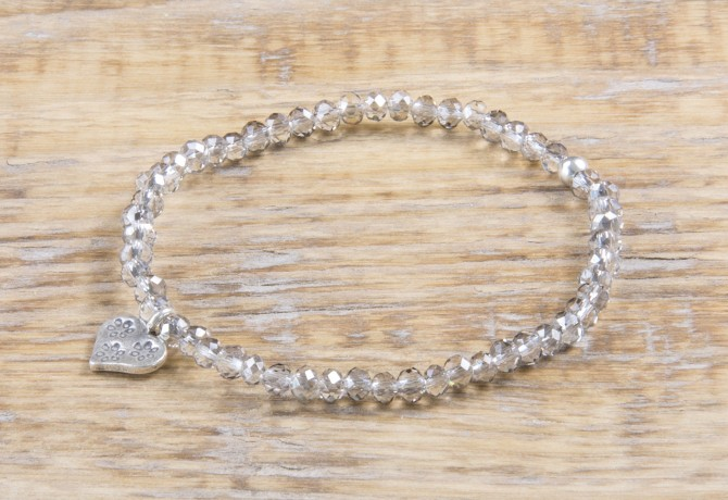 Pure Sparkle Cloudy Grey mit Silber Charm Armband