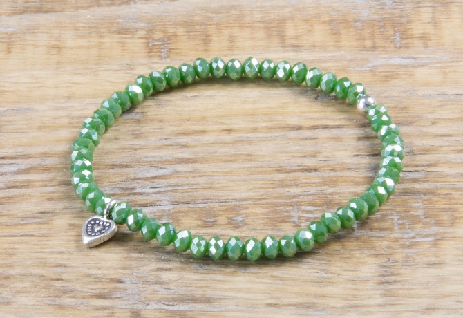Pure Sparkle Palmtree Green mit Silber Charm Armband