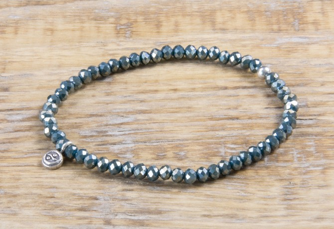 Pure Sparkle Petrol mit Silber Charm Armband