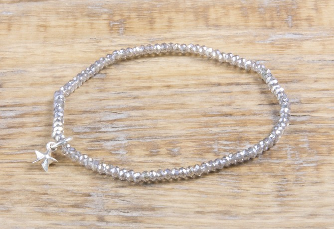Pure Sparkle Soft Grey mit Silber Charm Armband (2mm Perlen)